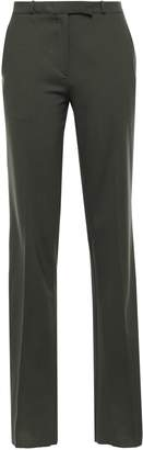 Etro Grosgrain-trimmed Striped Stretch-wool Straight-leg Pants