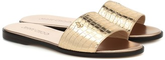 Jimmy Choo Minea metallic leather slides