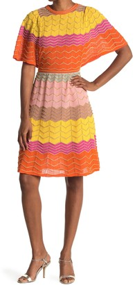 M Missoni Colorblock Print Crew Neck Dress