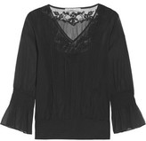 Chelsea Flower Embroidered Tulle-Paneled Georgette Blouse