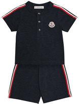Moncler Short-Sleeve Henley Jersey Tee w/ Shorts, Size 12M-3
