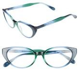 Corinne McCormack Women's Diana 53Mm Cat Eye Reading Glasses - Green/ Blue Fade