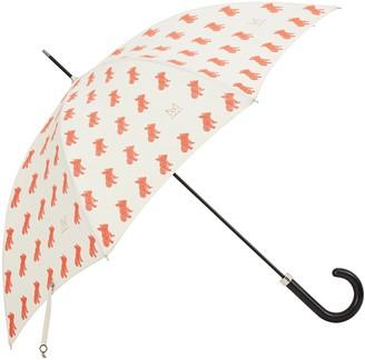 Marokka Design French Bulldog Geometric Style Umbrella - Frank Black Frame With A Red Dog On A Cream Background