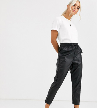 New Look Petite leather look jogger in black