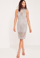 Missguided High Neck Lace Midi Dress Grey