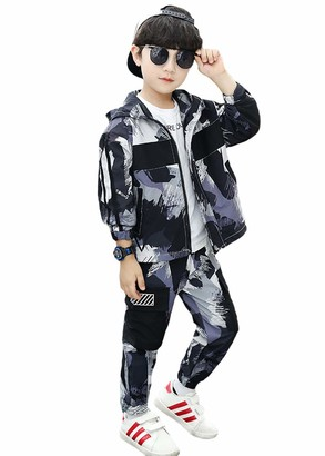 Rolanko Boys 2 Pieces Long Sleeve Outfits Camo Tracksuit Jacket+Cargo Pants Clothing Set(Purple Tag Size 120)
