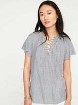Old Navy Striped Lace-Up Top for Women