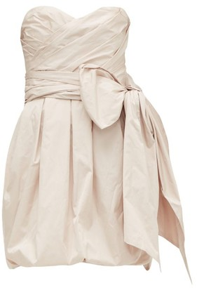 Alexandre Vauthier Gathered Bow-embellished Taffeta Mini Dress - Womens - Light Pink