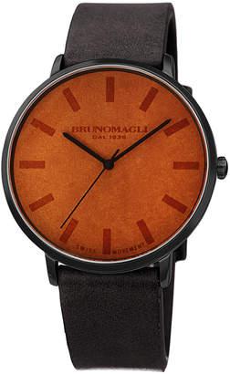 Bruno Magli Men's 42mm Roma Minimalist Watch w/ Leather Dial, Black/Brown