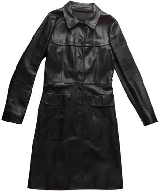 Prada Black Leather Trench coats