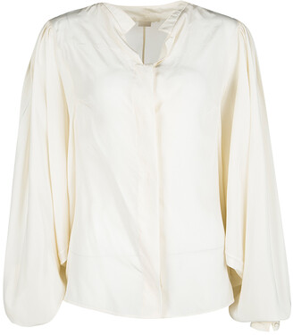 Antonio Berardi Cream Silk Bat Sleeve Detail Blouse M