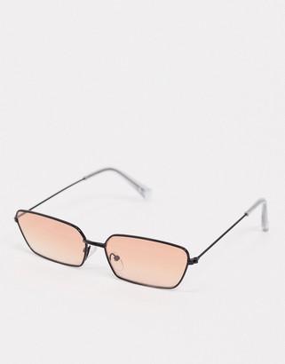 ASOS DESIGN metal frame cat eye sunglasses with brown fade lens