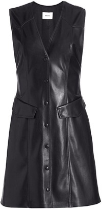 Nanushka Menphi Sleeveless Vegan Leather A-Line Shirtdress