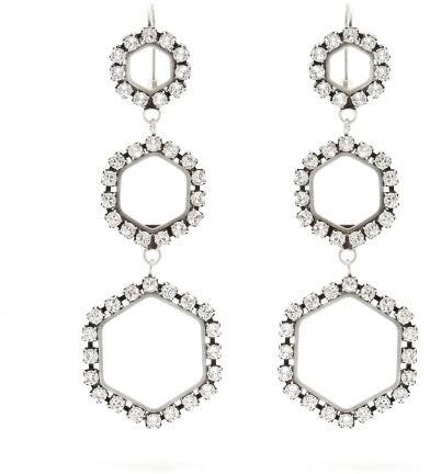 Isabel Marant Crystal Embellished Hexagon Drop Earrings - Womens - Silver