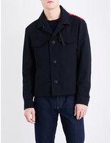 Salvatore Ferragamo Scribble stitch-embroidered cotton-blend jacket