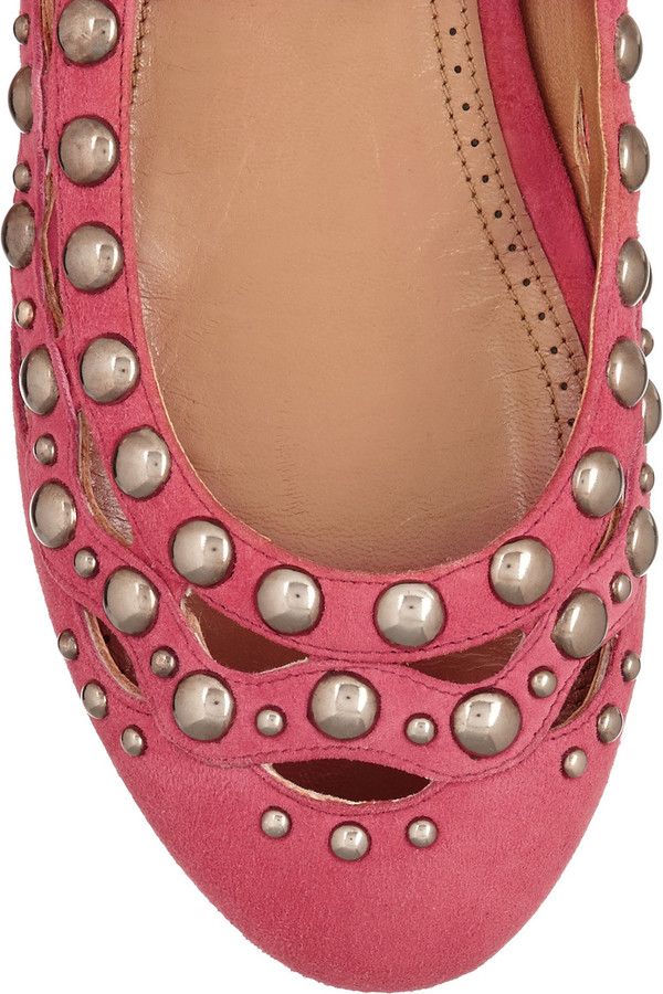 Alaia Studded suede ballet flats