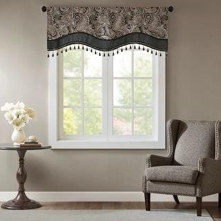 "Madison Home USA Wellington Jacquard Window Rod Pocket Valance with Beads - 50 x 18"""