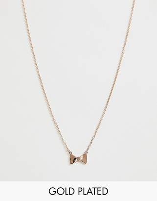 Ted Baker rose gold bow pendant necklace