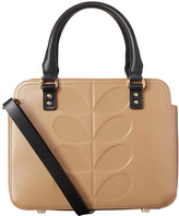 Orla Kiely Embossed Stem Leather Jeanette Bag - Fawn