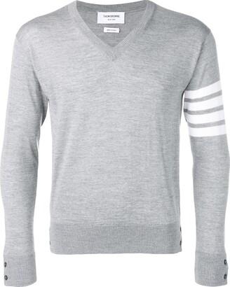 Thom Browne Fine Merino Wool Vneck Pullover
