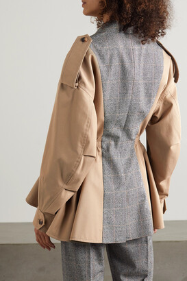 Alexander McQueen Cotton And Prince Of Wales Checked Wool Jacket - Neutrals