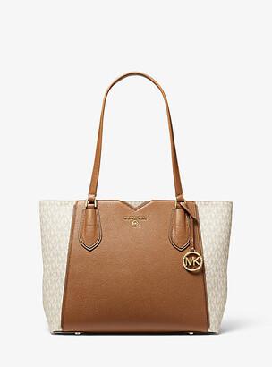 Michael Kors Mae Medium Pebbled Leather And Logo Tote Bag