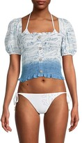 Thumbnail for your product : Surf.Gypsy Smocked Button Front Top Cover-Up
