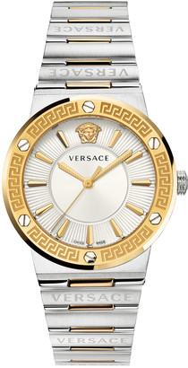 Versace Greca Logo Watch with Bracelet Strap, Two-Tone