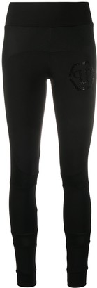 Philipp Plein Panelled Embellished Logo Leggings