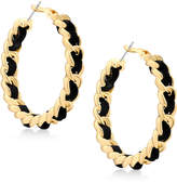 GUESS Gold-Tone & Jet Faux Suede Woven Hoop Earrings