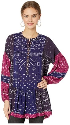 Free People Shibori Tunic (Blue) Women's T Shirt