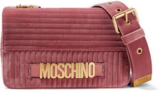 Moschino Quilted Velvet Shoulder Bag