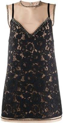 No.21 Layered-Style Lace Mini Dress