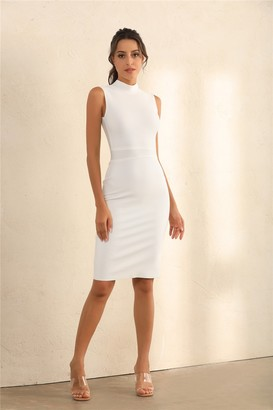 Miss Floral Turtle Neck Bodycon Bandage Midi Dress In White