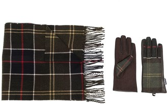 Barbour Check Print Scarf And Gloves Set