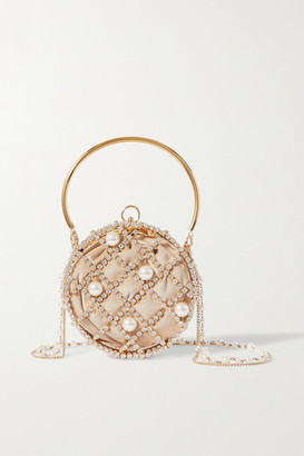 Rosantica Ines Embellished Gold-tone And Velvet Tote