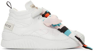 Emilio Pucci White Scarf-Embellished High-Top Sneakers