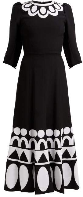 Andrew Gn Geometric Floral Applique Jersey Midi Dress - Womens - Black White