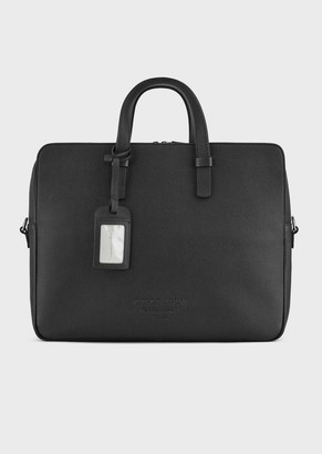Giorgio Armani Full-Grain Leather Briefcase With Shoulder Strap