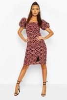 boohoo Rose Print Pleated Puff Sleeve Midi Dress