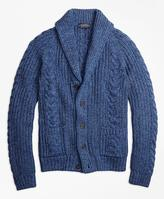 Brooks Brothers Supima® Cotton Marl Cable Knit Shawl Collar Cardigan