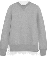 Sacai Lace-trimmed Cotton-blend Jersey And Laser-cut Poplin Sweatshirt - Gray