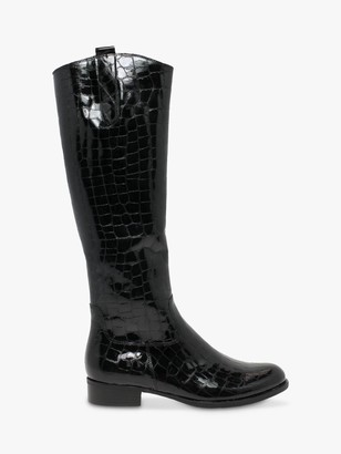 Gabor Brook Patent Croc Leather Riding Boots, Black