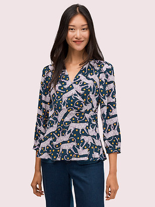 Kate Spade Panther Dot Wrap Top