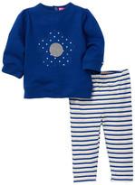 Isaac Mizrahi Flower Embroidered Applique Fleece Top & Striped Pant Set (Baby Girls 0-9M)