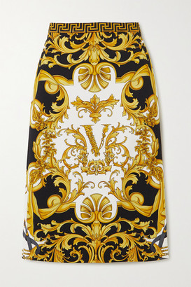 Versace Printed Stretch-jersey Skirt - Black