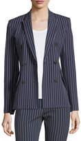 Derek Lam 10 Crosby Double-Breasted Striped Cotton Blazer