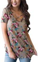 Yonala Women's Fashion Printed Cross Tops V-neck Blouse Loose Short Sleeve T-shirt Summer