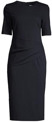 HUGO BOSS Deniba Ruched Virgin Wool-Blend Dress