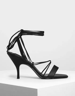 Charles & Keith Square Toe Lace-Up Sandals